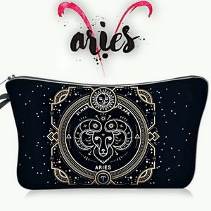 Astrology Aries Makeup Bag Black Zodiac